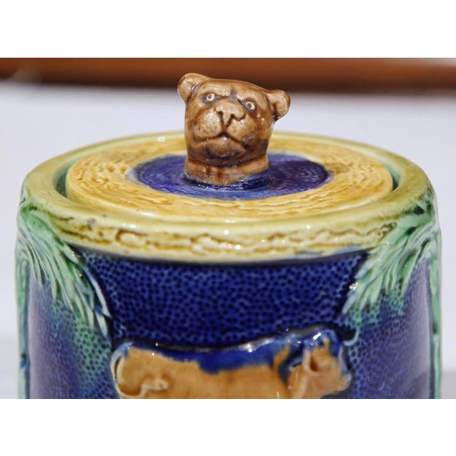 French 19th Century French Hand-Painted Barbotine Sugar Bowl With Lid and Cows For Sale - Image 3 of 9