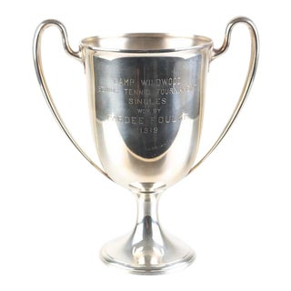 1919 Tiffany & Co Sterling Silver Camp Wildwood Tennis Trophy For Sale
