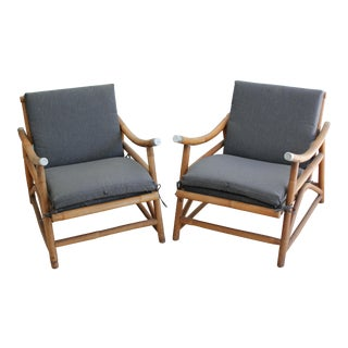 Vintage Ficks Reed Style Bamboo Patio Lounge Chairs - a Pair For Sale
