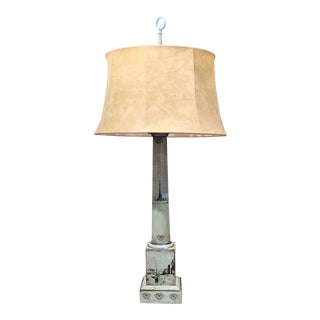 19th Century French Directoire Hand Painted Green and White Tole Table Lamp For Sale