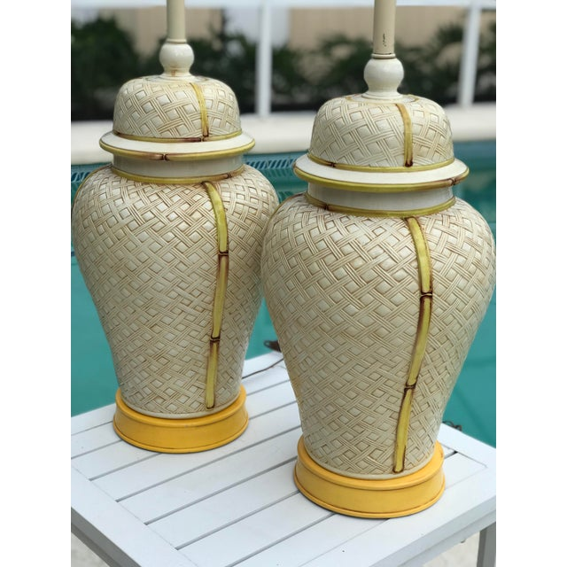 Boho Chic Vintage Faux Bamboo Basket Weave Ginger Jar Lamps-Pair For Sale - Image 3 of 11