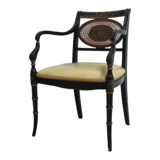 Antique Adams Paint Decorated Cane Leather Dining Desk Arm Chair