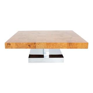 Mid-Century Modern Milo Baughman Burl and Chrome Coffee Table For Sale
