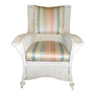 Vintage Heywood White Wicker Wingback Armchair For Sale