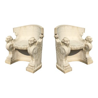 Pair of Neoclassical Carved Stone Tub Chairs / Benches For Sale