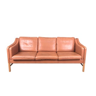 Vintage Danish Butterscotch Leather 3-Seat Sofa For Sale