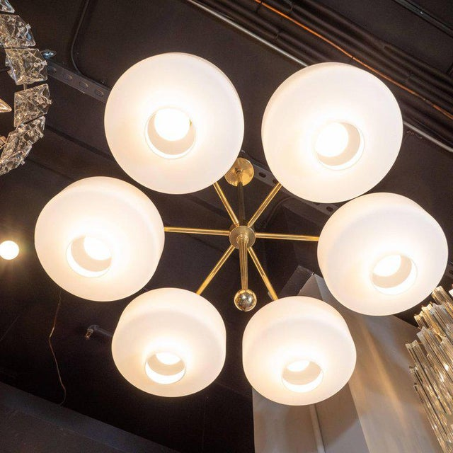 Scandinavian Mid-Century Modern Six-Arm Brass and Frosted White Glass Chandelier For Sale In New York - Image 6 of 9