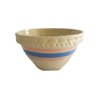 Antique Cream Pink and Blue Striped Stoneware Crock Bowl For Sale