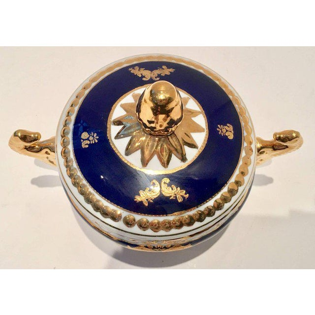 Vintage French Sevres Style Limoges Cobalt and 22-Karat Lidded Jar - Image 4 of 9