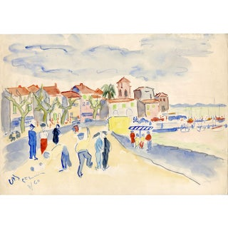 French Seaside Watercolor Painting For Sale