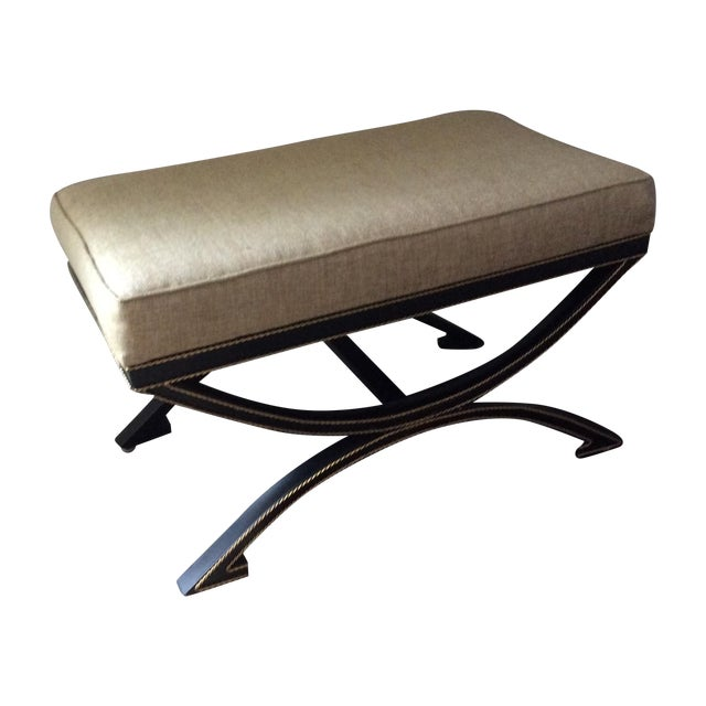 Upholstered Bench With Metal Tole Base - Image 1 of 5