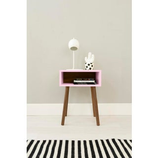 Minimo Modern Kids Nightstand in Walnut & Birch With Pink Finish Preview