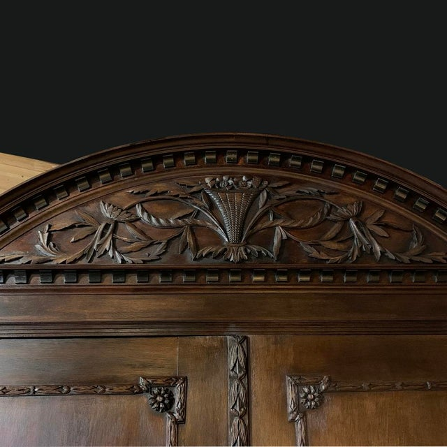 Gold 18th Century Dutch Hand Carved Linen Press For Sale - Image 8 of 13