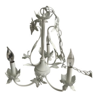 1970s Small White Vintage Chandelier For Sale