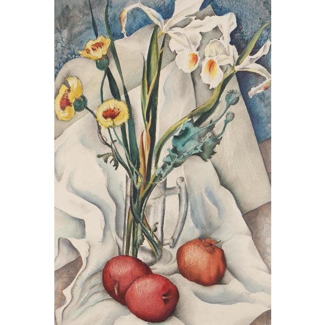 American Vintage Mid-Century Still Life With Flowers and Pomegranate Painting For Sale - Image 3 of 12