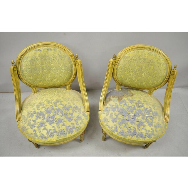Vintage French Louis XVI Style Low Petite Boudoir Small Hiprest Chairs - a Pair For Sale In Philadelphia - Image 6 of 13