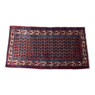 Vintage Hand-Knotted Persian Zanjan Runner- 3′6″ × 6′11″ For Sale