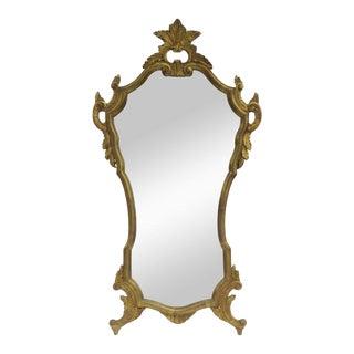 Vintage 1950's Hollywood Regency Era Italian Venetian Gilt Gold Leaf Carved Mirror For Sale