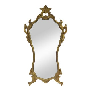 Vintage C.1950's Hollywood Regency Era Italian Venetian Gilt Gold Leaf Carved Mirror For Sale