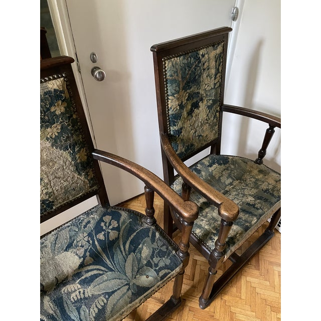 Charles II Revival 19th Century Walnut Arm Chairs With 17th Century Verdure Tapestry Upholstery - a Pair For Sale - Image 10 of 13