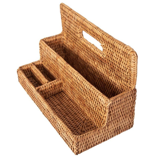 Artifacts Rattan Standing Stationary Sorter in Honey Brown For Sale - Image 9 of 11