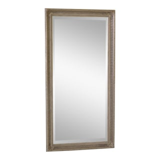 Tall Rectangular Silver Decorated Framed Beveled Glass Mirror For Sale