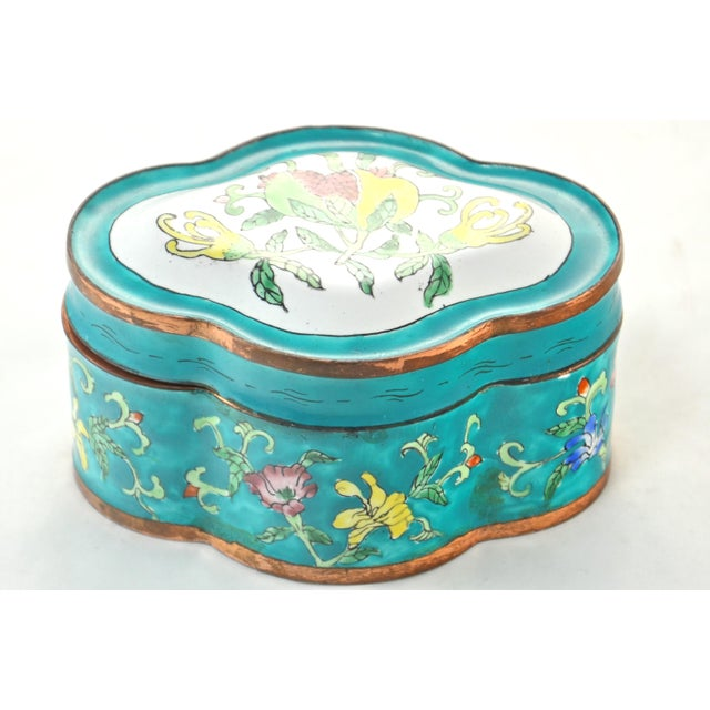 Chinese Aqua Floral Enamel Copper Box For Sale - Image 4 of 4
