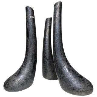 Barbini Murano Glass Sculptural Vases Set of Three