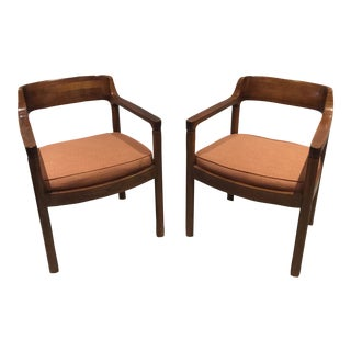 Nicos Zographos Walnut Arm Chairs - A Pair