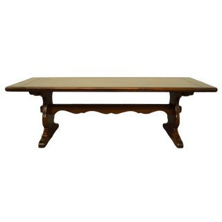 Late 20th Century Ethan Allen Antiqued Pine Old Tavern Trestle Bench For Sale