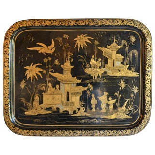 Large French Tole Tray For Sale
