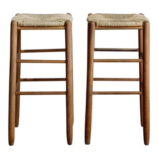 Pair of Rush Bar Stools in the Style of Charlotte Perriand For Sale