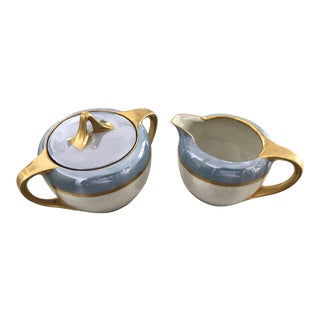 Opalescent Lavender & Gold Prussia Serverware Cream & Sugar Dishes - a Pair For Sale