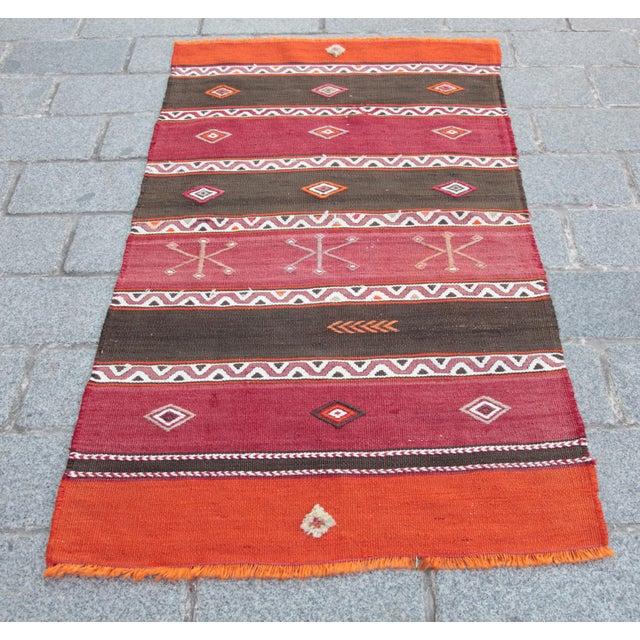 Orange Stripe Design Kilim Rug - 4' 3'' X 2' 6'' For Sale - Image 11 of 11
