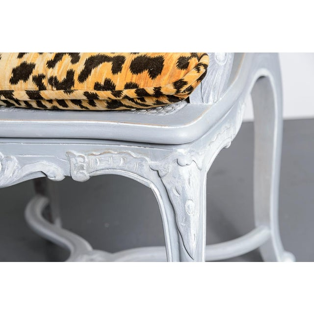 Paint French Regency Style Painted Chair with Animal Print Cushions - A Pair For Sale - Image 7 of 13