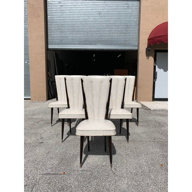 Metal 1940s Vintage French Art Deco Solid Mahogany Dining Chairs- Set of 6 For Sale - Image 7 of 12