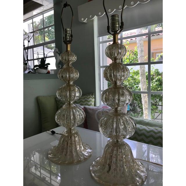 Luscious Murano table lamps in classic Murano champagne color. These are designer favorites.