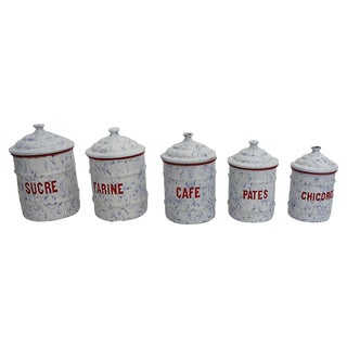 Belgian Enamel Kitchen Canisters - Set of 5 For Sale