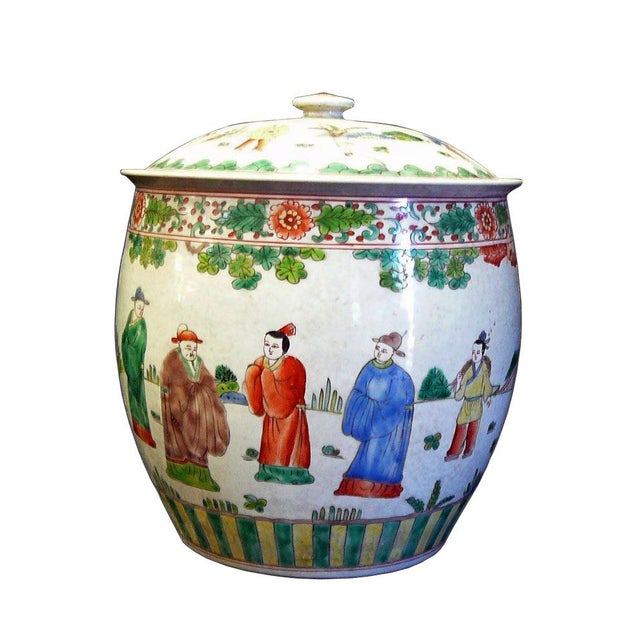 Ceramic Chinese Porcelain Color People Gathering Scenery Pot For Sale - Image 7 of 7
