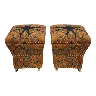 English Paisley Upholstered Storage Ottomans - a Pair For Sale