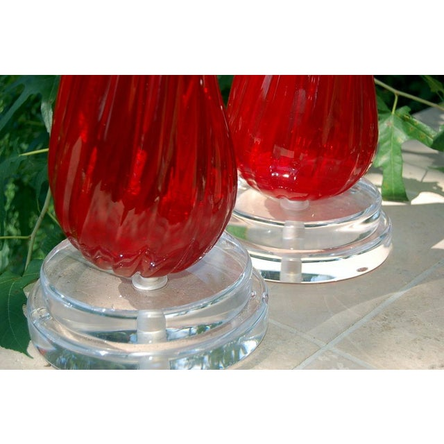 1960s Vintage Murano Glass Table Lamps Red- A Pair For Sale - Image 5 of 8