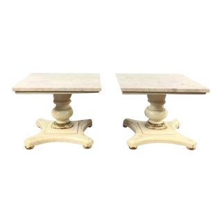 Vintage Buccola Brothers Travertine Top End Tables - A Pair
