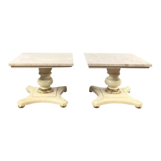 Vintage Buccola Brothers Travertine Top End Tables - A Pair For Sale