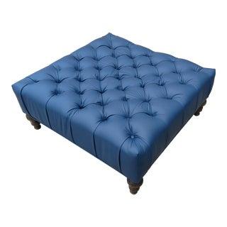 Ann Arbor Blue Tufted Leather Ottoman