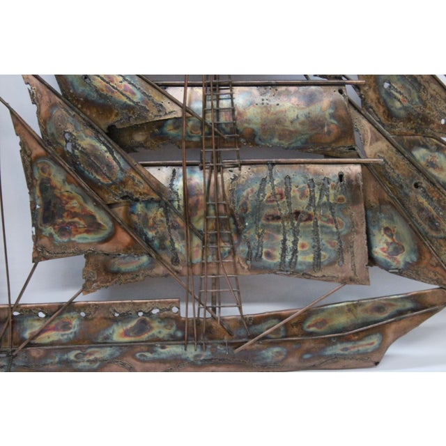 Brutalist Mid Century Ship Wall Sculpture - Image 4 of 6