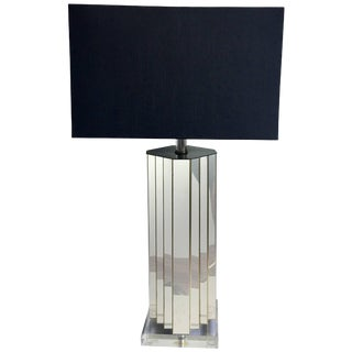 Skyscraper Brass and Lucite Table Lamp For Sale