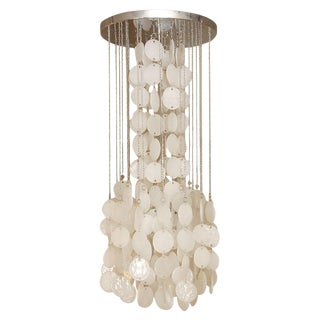 Mazzega Murano Cascade White Glass Disk Chandelier For Sale