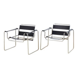 Vintage Black and Chrome Wassily Style Armchairs For Sale