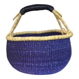 Bolga Ghana Blue Market Woven Basket For Sale