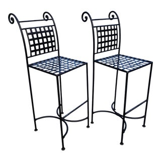 Vintage Wrought Iron Bar Chairs - a Pair For Sale